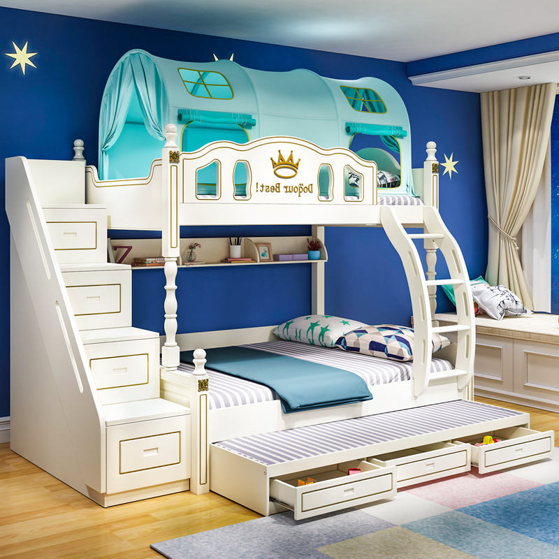 More Popular White Kids Children Bedroom Furniture MDF Wood Bunk Beds bunk beds bunk bed