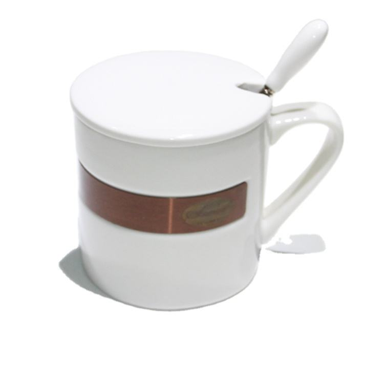Large capacity shiny white ceramic mug with metal stick a card and ceramic lid