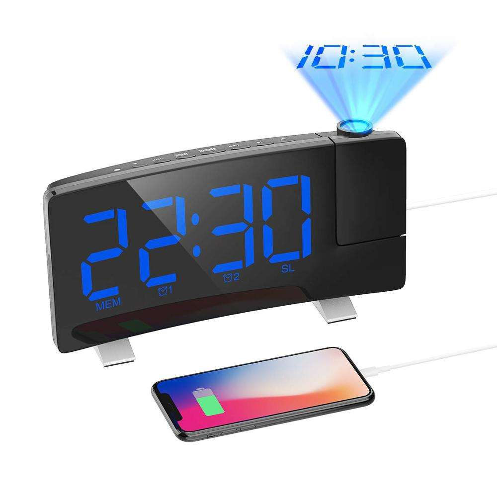 "Digital 7"" Curved-Screen Super Large LED Display Projector Alarm Desk Clock Projection FM Radio Table Clock With USB Charger"