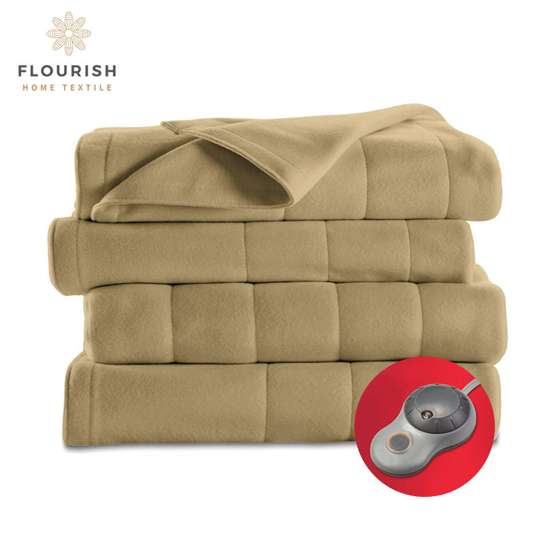 Flourish Free Sample China Supplier Warm Usb Quilted Fleece Heated Electric Under Blankets