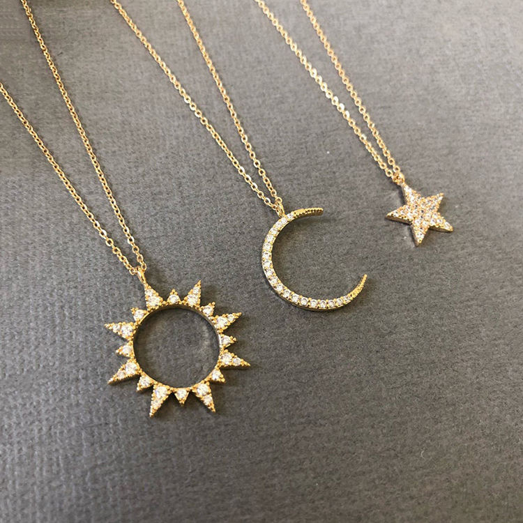 Dainty cz Sun Moon Stars Necklace Set Minimalist Statement Necklace 925 Sterling Silver Jewelry