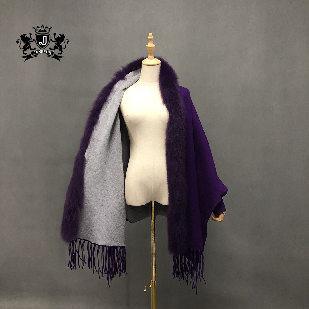 Grace Mysterious Style Knitted 100% Cashmere Wool Scarf Tippet With Fox Fur Collar With Tassel