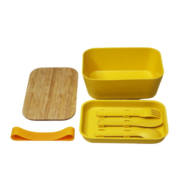 Amazon hot new product 2020 eco friendly OEM customize 2 layer bamboo fiber lunch box with bamboo cutlery