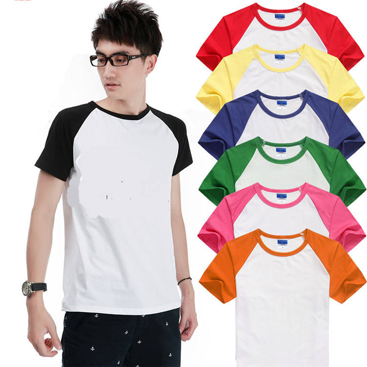 Lycra Cotton Blend Men 's OEM Logo Customizable Short Raglan Sleeve Crew Neck Baseball Shirt T Shirt T-shirt t shirts