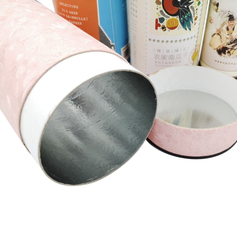 Round Gift Packaging Cardboard Box Cylindrical Shape Paper Tea Box
