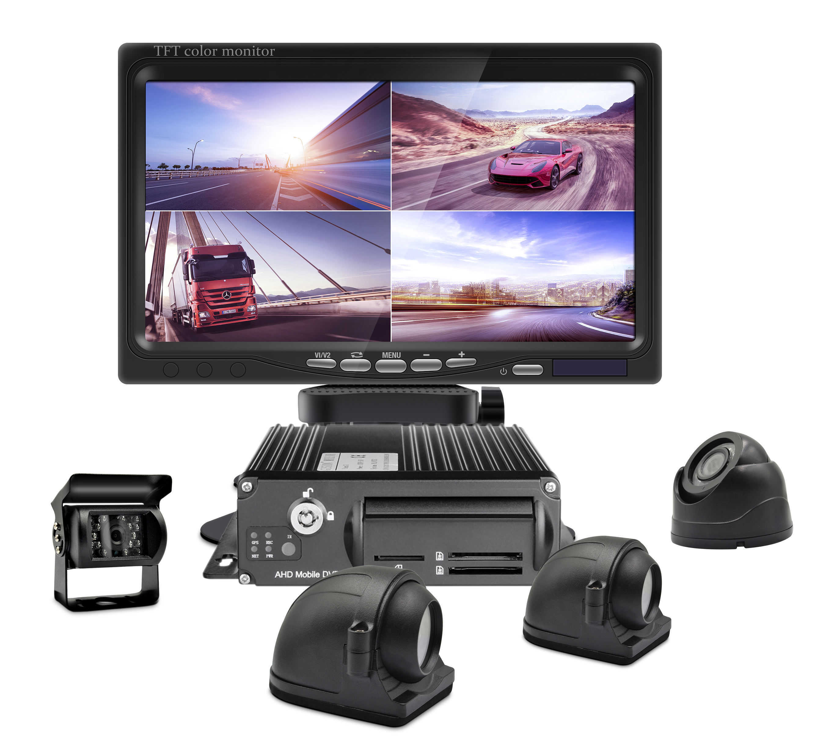 4 Channel 1080p H.264 Car Black Box GPS Tracking 3G 4G WiFi Mobile DVR Dash Cam Vehicle Bus Truck Safe Reversing Aid