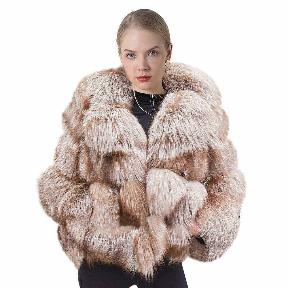 Custom Real Fur Jacket 2020 Womens Big Fluffy Winter Thick Snow Coat Luxury Natural Coffee Fox Fur Coats With Collar For Women