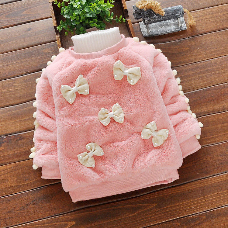 Newborn baby sweater Bow pattern baby sweater thick warm comfortable winter baby clothes