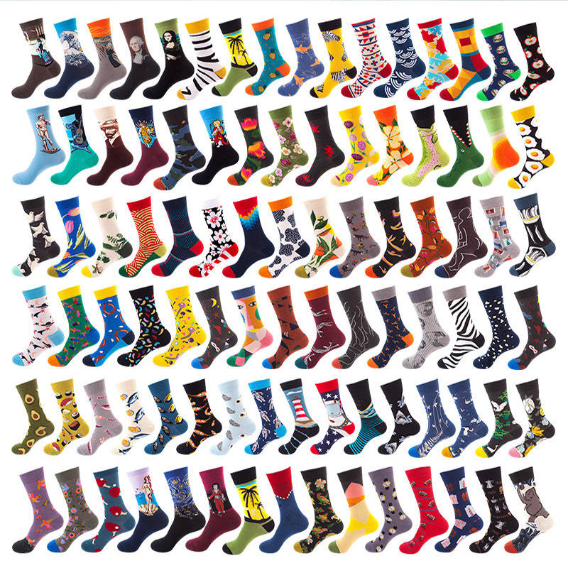 Creative Custom Cotton Popular Logo Men Women Socks Tube Skateboard Casual Happy Socks