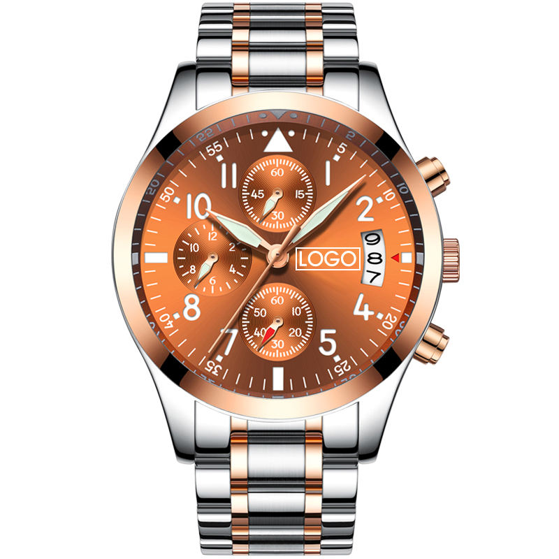 amazoon custom stainless steel waterproof 3ATM chronograph 41mm quartz watch make your own logo badges