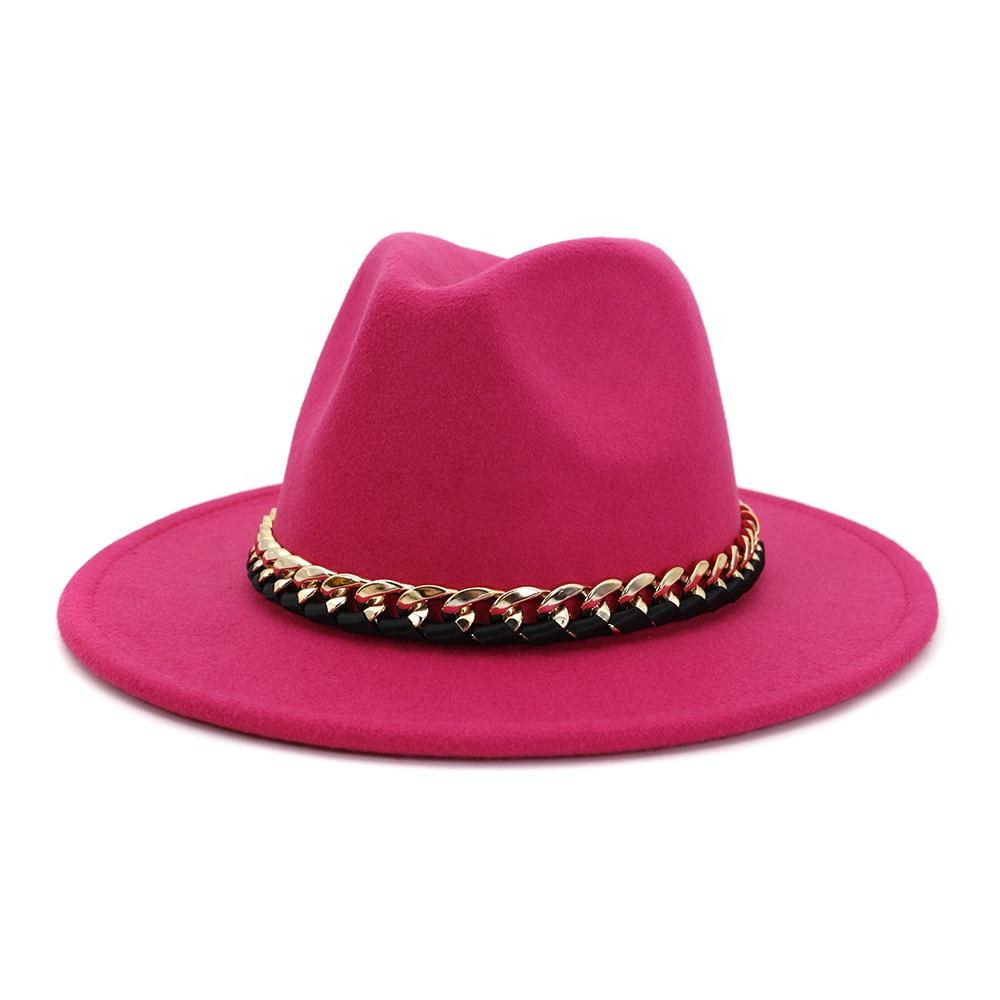 2020 England Style Men Felt Jazz Fedoras Women Church And Party Hats Big Wide Brim Ladies Couple Fedora Hats With Metal Chain