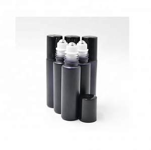 Black Essential Oil Roller On Bottles 10ml with Metal Roller Balls