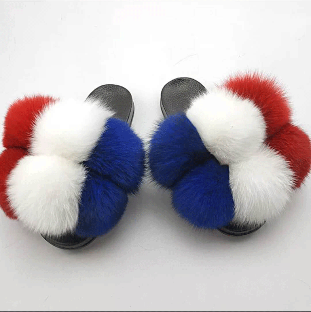 mother and child new design cheap cheap fur slippers slides with fur pom pom fur slides