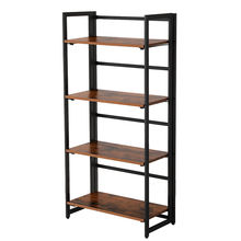 utility 4 tiers antique durable mango wooden metal industry rustic folding storage rack bookcase for home bed living room