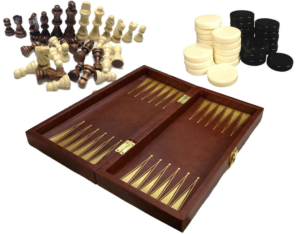 Lederen Backgammon Set, Houten Backgammon Board Game Met Checkers Chips Stukken