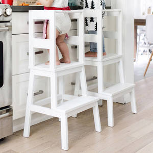 Bamboo Kids Learning Tower Step Stool with Safety Rail White