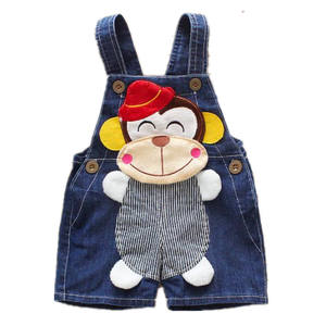 cute infant overalls romper summer unisex cotton strips red hat monkey print baby denim overalls cheap