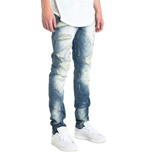 Faded Blue Monkey Wash Mens Denim Jeans Ripped Holes Red White Spots Stretchy Skinny Jeans