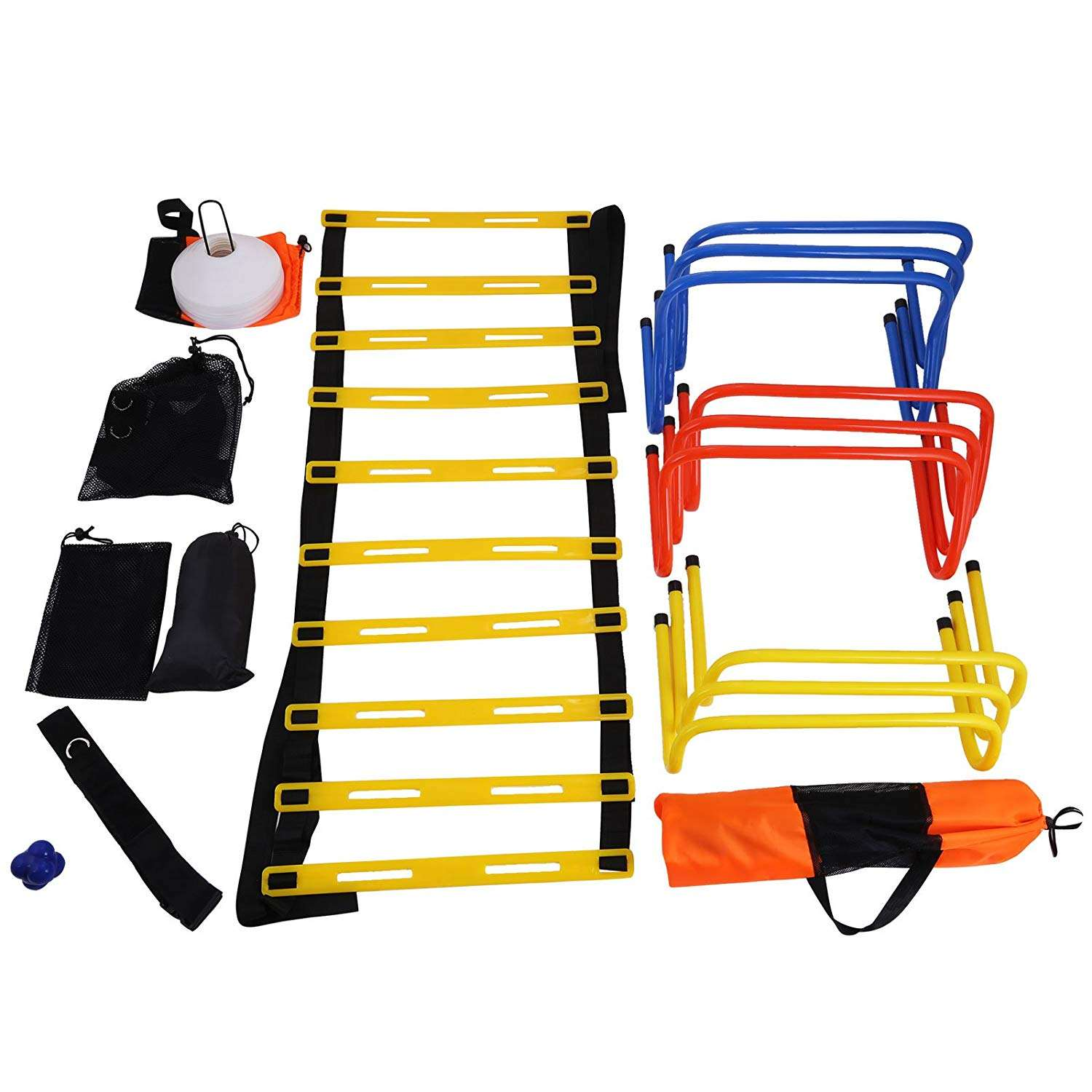 ActEarlier custom Speed Agility Ladder with carry bag 11/ 12 rungs Speed ladder and Reaction ball, speed Jump rope