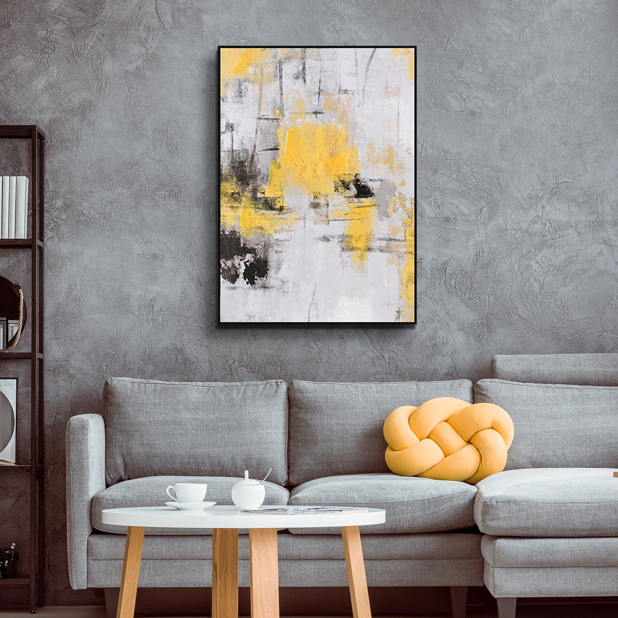 Abstract Modern Home Decor 100% Handpainted Yellow Single Panel Oil painting canvas for Living room
