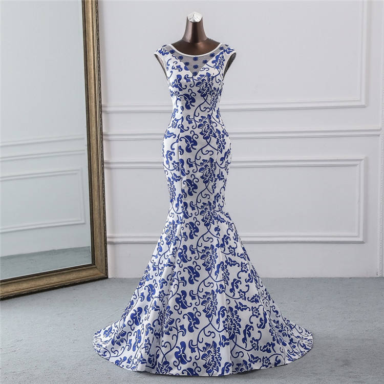 2019 China evening dress blue flower elegant party dress mermaid dress evening gown robe longue soiree