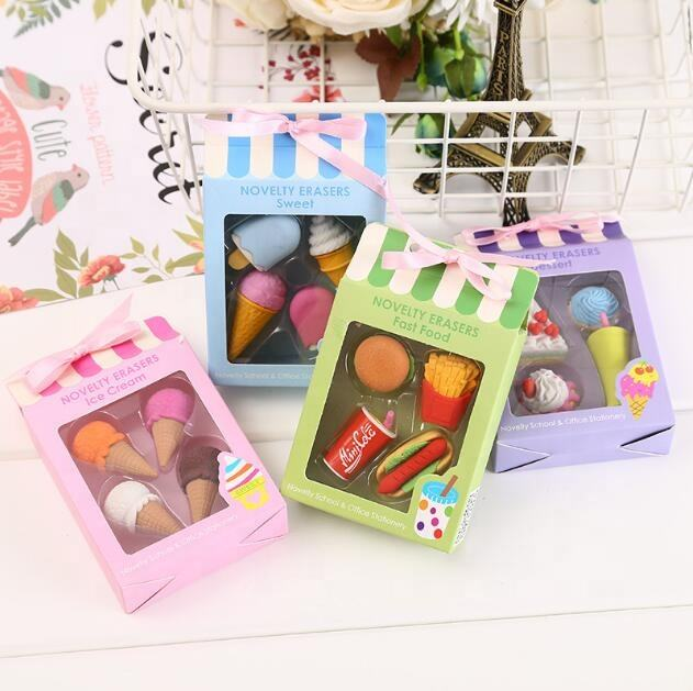 creative KFC Set assorted food mini 3D mini pencil eraser with gift packing pink eraser