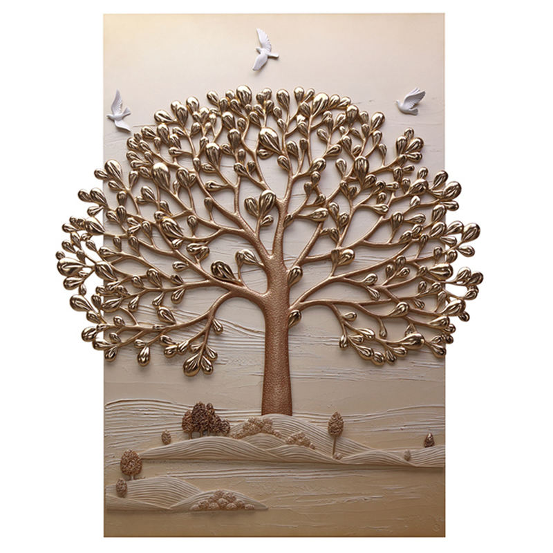 New Style Hot Sale Home Furniture 3D Wall Art Golden Tree Painting For Living Room