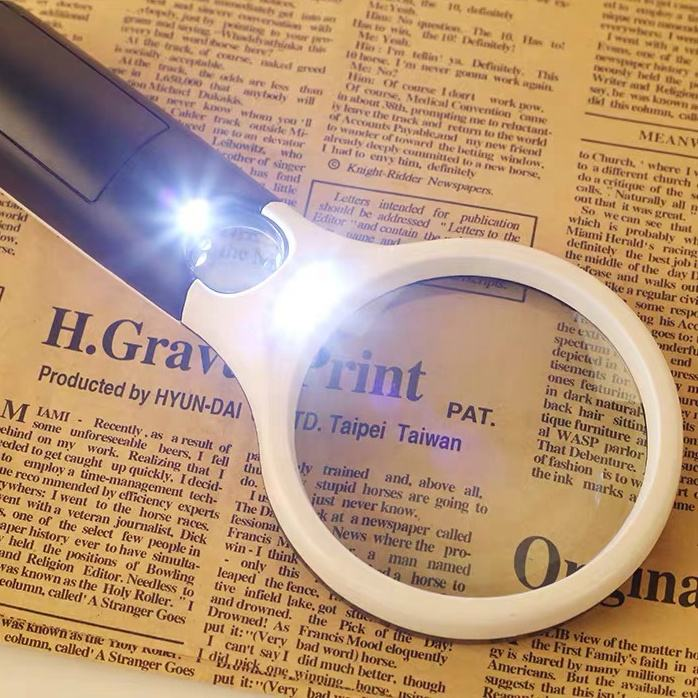 Lighted Magnifier Glasses Handheld Illuminated Magnifying Glasses Magnifier With Light LED 3X 45X High Magnification For Reading