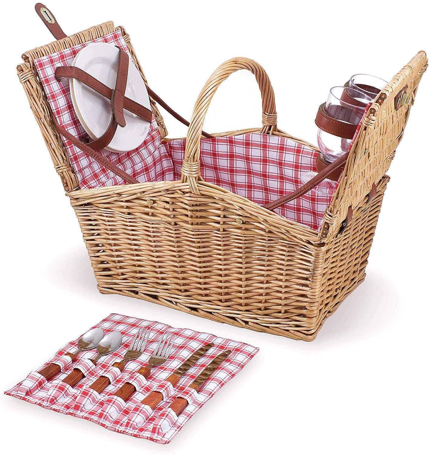 New Arrival Hand Made Custom Size Hand Woven Wicker Basket for Outdoor Travel Camping Picnic Road Trip