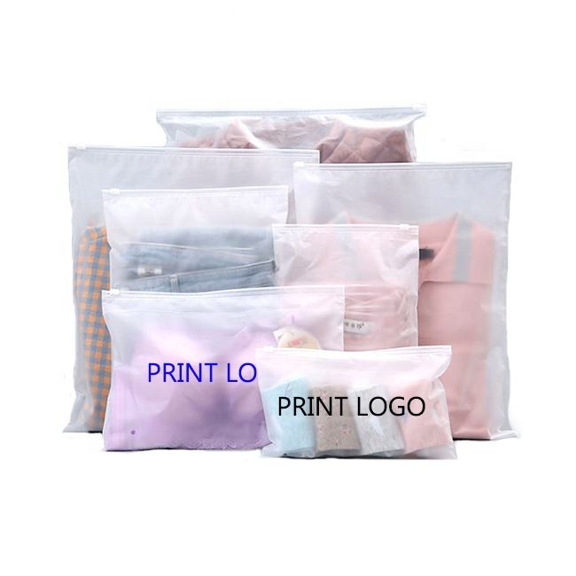 Cheap custom printed zipper garment shirt packaging frosted transparent slide zip lock plastic bags with own logo