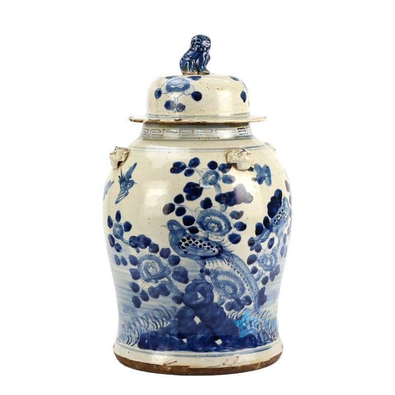 RZEY12-B Old mud blue and white bird floral ceramic temple jar