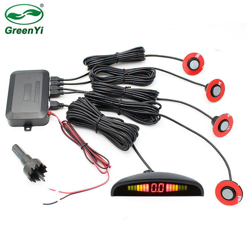 Greenyi Auto Led <span class=keywords><strong>Parking</strong></span> <span class=keywords><strong>Sensor</strong></span> Met 4 Ronde Platte Sensoren 12V De Estacionamento Reverse Assistance Backup Radar Monitor System