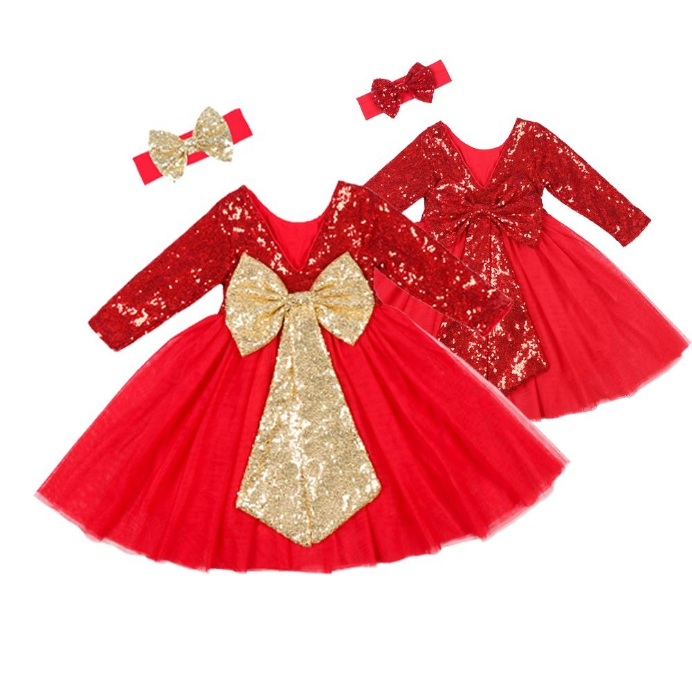 Little Girls Boutique Sequin Tutu Dress Kids Vintage Ruffle Long Sleeve Dress Valentine Gift Baby Party Birthday Wedding Gown
