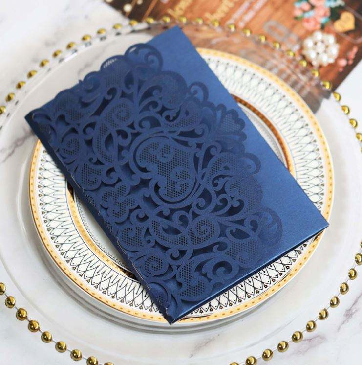 European Style Lace Wedding Invitations Cards Color Laser Greeting Card Wedding Engagement Party Supplies
