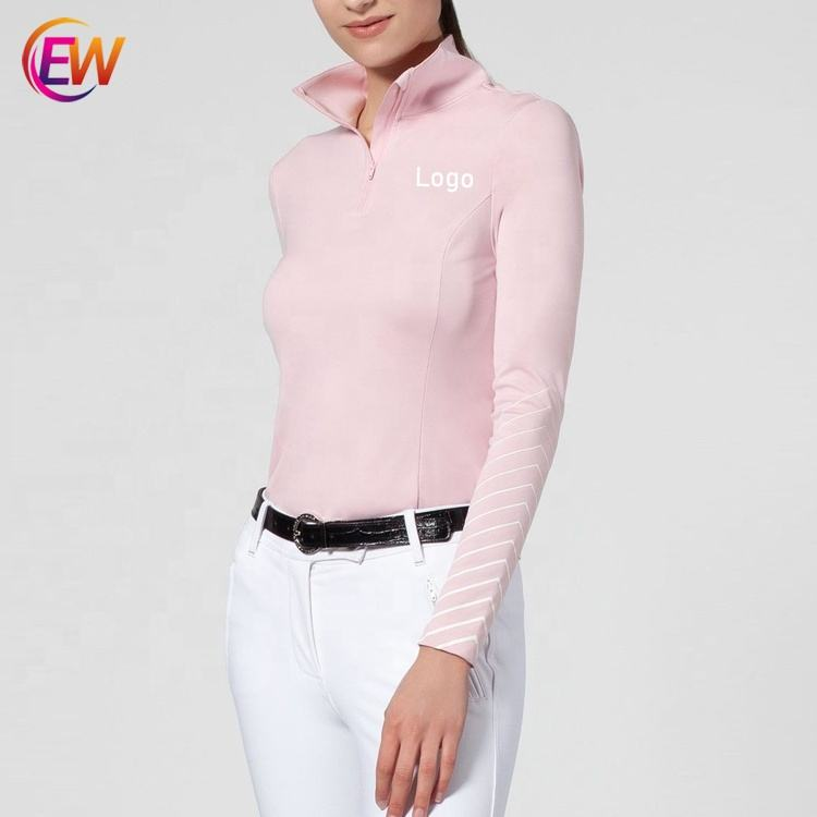 EW Horse Wholesale Long Sleeves Riding Tops Racing Show Shirt, Quick Dry Equestrian Clothing For Women
