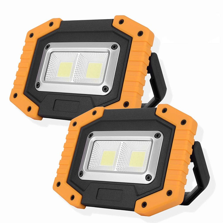 2 COB LED Work Light, Rechargeable Portable Waterproof LED Flood Lights for Outdoor Camping Emergency Car Repairing