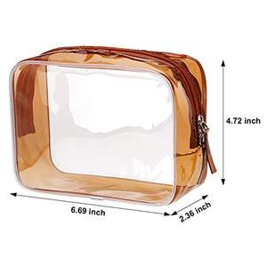 Small Brown Clear PVC Zippered Toiletry Carry Pouch Portable Cosmetic Makeup Bag for Vacation  Bathroom and Organizing
