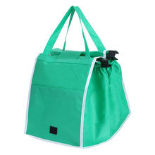 Supermarket trolley bags folding and receiving bags green non-woven shopping cart shopping bags