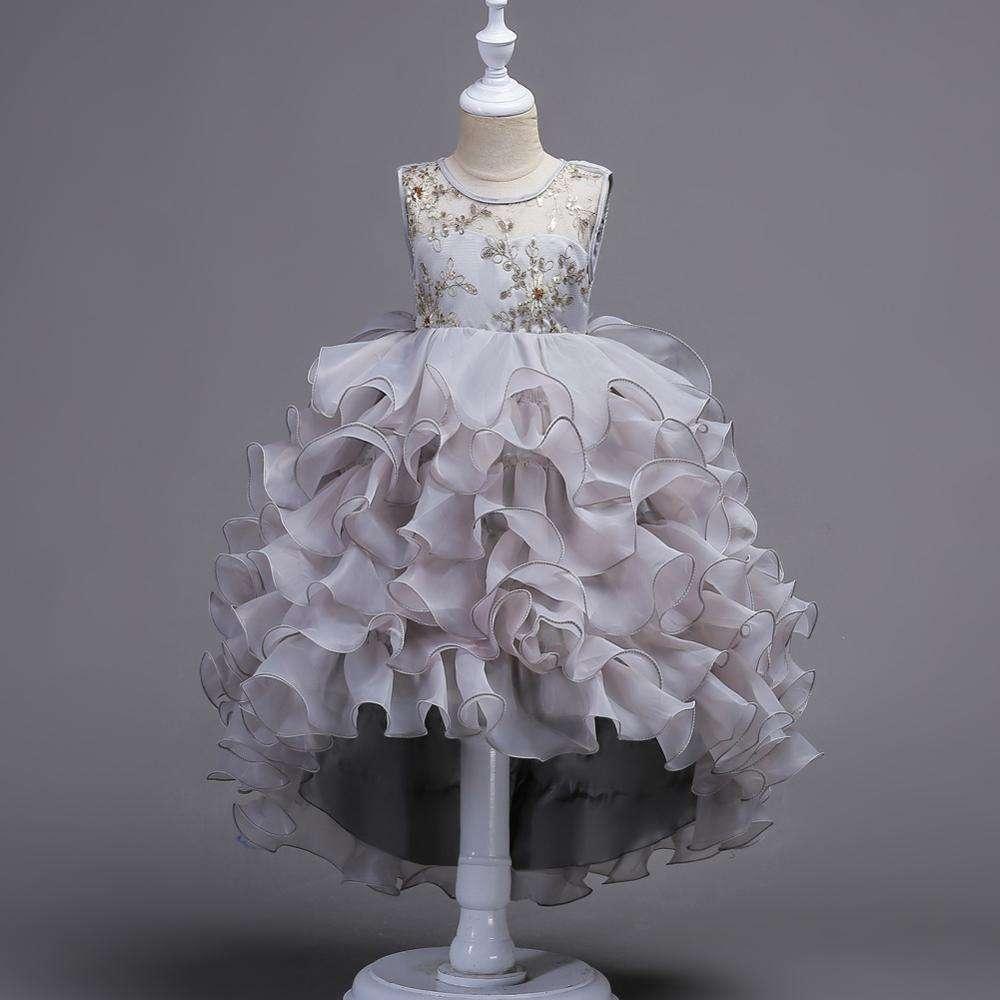 De <span class=keywords><strong>moda</strong></span> de chicas fiesta de flores Vestidos Niña de vestidos de fiesta de cumpleaños vestido de princesa