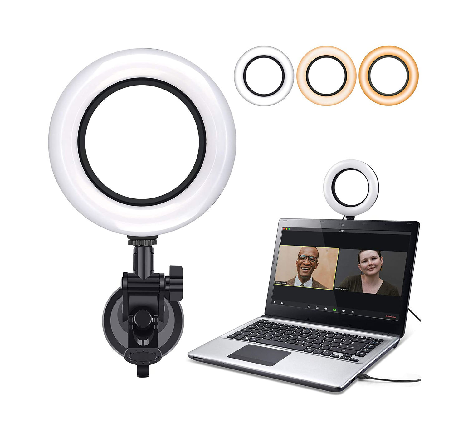 Video Conference Lighting Kit Computer Laptop Moniter LED Video Light Dimmable Ring Light For Remote Working Zoom Call Recording