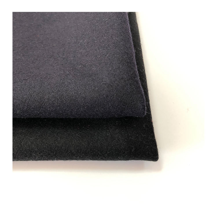 black 30%cashmere 70%wool single-faced over coating fabric for coat garment