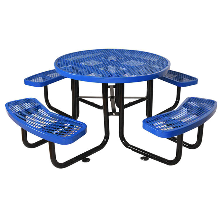 Factory Outlet Best Selling Picnic Table Park Round Metal Picnic Table Bench Commercial Dinning Table