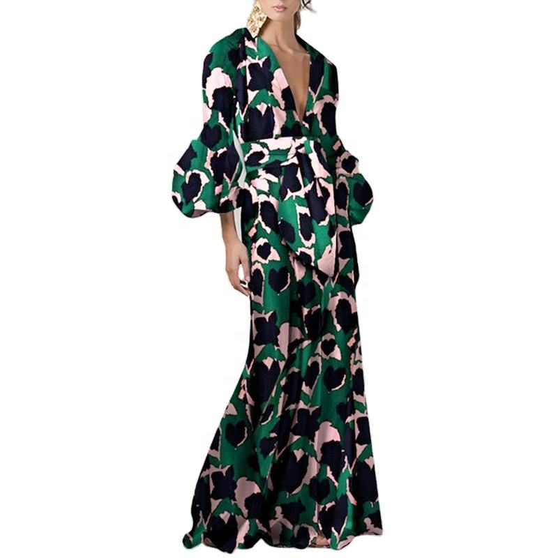 TWOTWINSTYLE Vintage Dress Women V Neck Flare Long Sleeve Sashes Print Hit Color A Line Floor Length