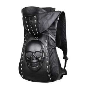 PU Hat Skull Rivet Backpack Ghost Head 3D Stereo Male Backpack Personality 3D Skull Leather Rivets Skull