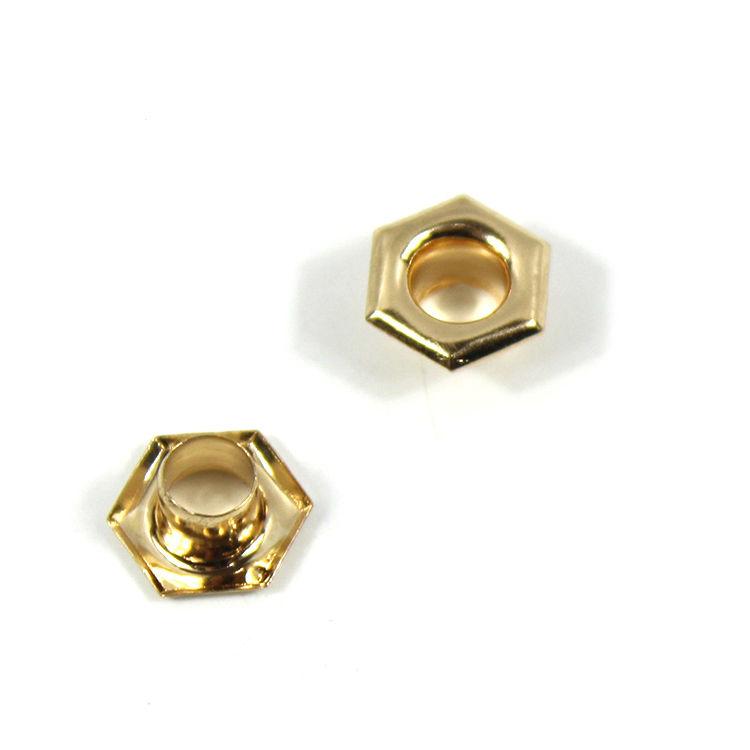 Diseño Simple bolsa de zapatos y ropa bandera Rectangular de hexágono de oro ojete 10mm