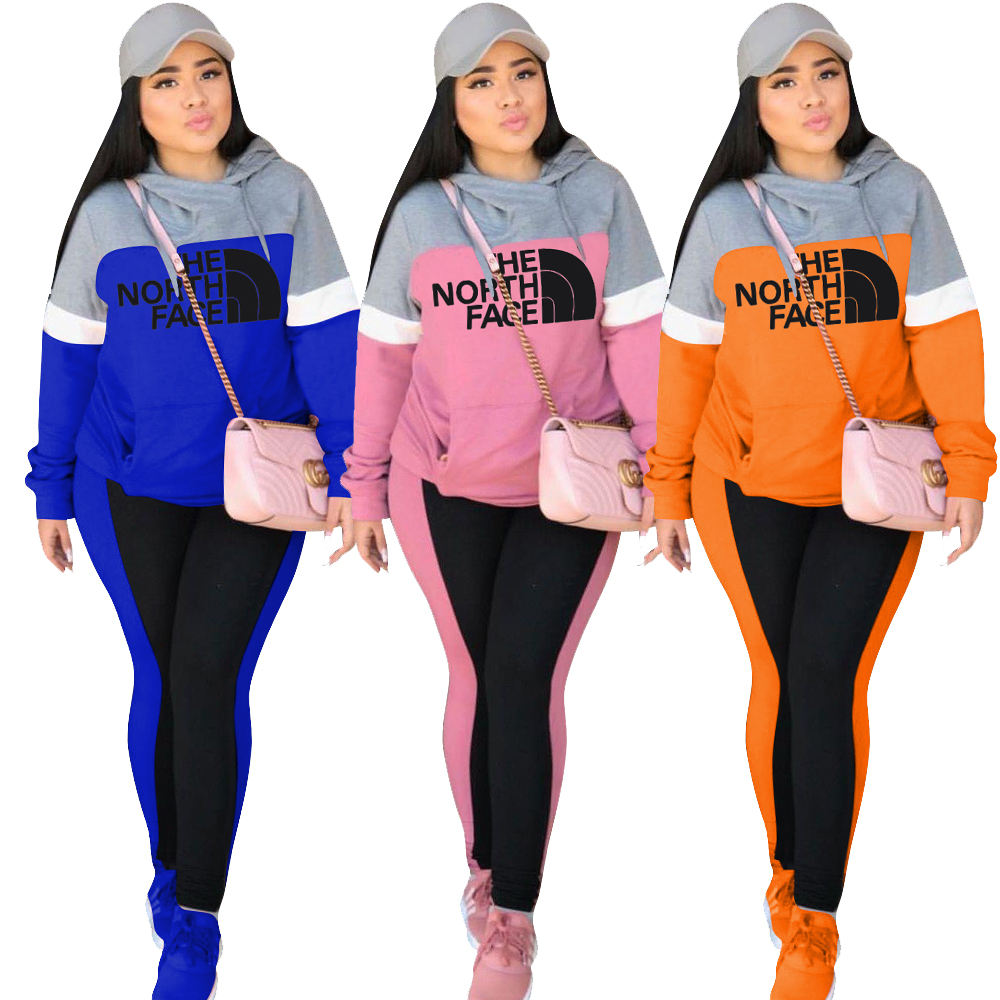 H1293 2020 new casual sports long-sleeved trouser set digital printing hoodie and trousers set women hoodies set