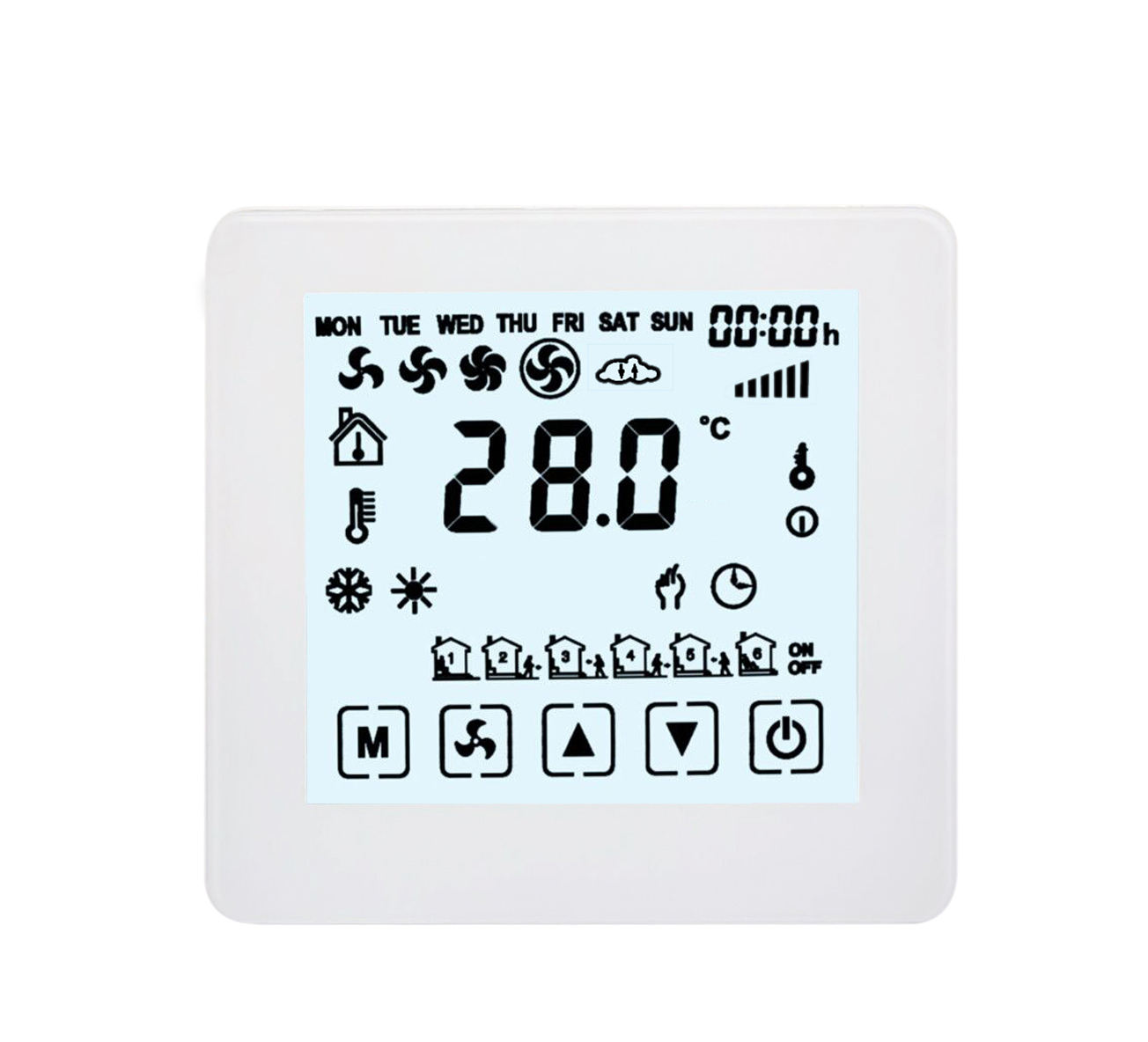 2 Years Warranty Full Touch Screen FCU Wi-fi Smart Phone Room Thermostat