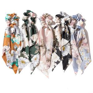 New Design Trendy Elastic Hair Accessories Long Scarf Hair Scrunchies Ponytail Holders Hair Tie for Ladies