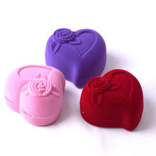 Heart Shape Velvet Wedding Ring And Earring Ring Box