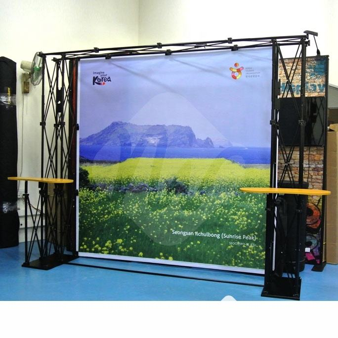 Trade Show Sales Advertising Pop Up Display Rack Kit w/ Custom Printed Backdrop, Portable TV Truss Stand